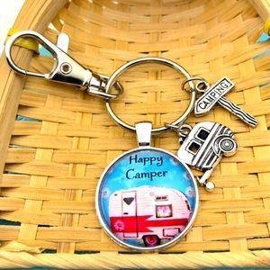 🚙NWT⛺️Happy Camper Keychain FOB w/ Charms🧭